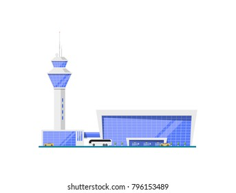 Airport glassy terminal with flight control tower. Modern air passenger infrastructure vector illustration. Worldwide traveling, air transportation business, commercial airline.