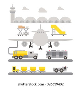 Airport ground support machinery flat design illustration vector
