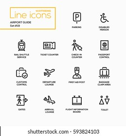 Airport Guide - modern vector single line icons set. Parking, disabled person, rail shuttle service, ticket counter, check-in, passport control, customs, departure lounge, first aid.
