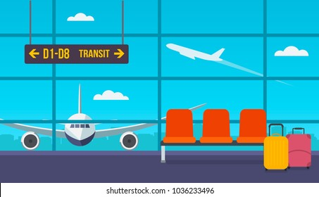 Airport hall with chairs. Kind of runway. Take off the plane outside the window. flat vector illustration