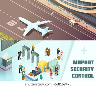 Airport horizontal isometric banners with tourists at security control and plane landing isolated vector illustration