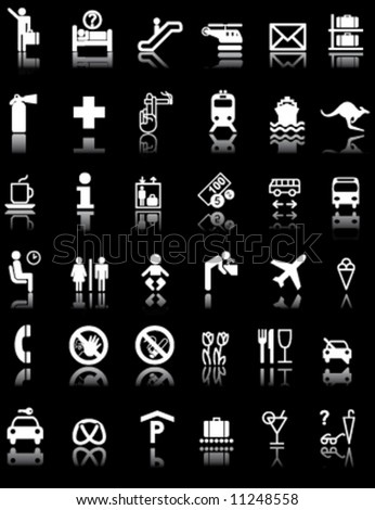 Airport Hotel Signs Symbols Black Light Stock Vector Royalty Free