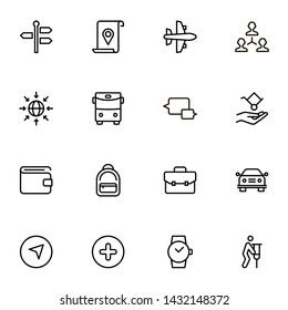 Airport icon set. Collection of high quality black outline logo for web site design and mobile apps. Vector illustration on a white background