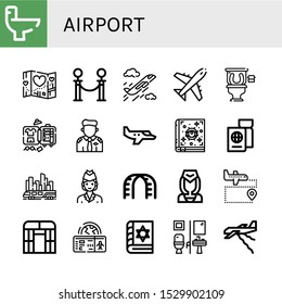 airport icon set. Collection of Wc, Travel, Queue, Plane, Restroom, Luggage, Pilot, Small plane, Spellbook, Passport, Skytrain, Air hostess, Stairs, Flight attendant, Airport icons