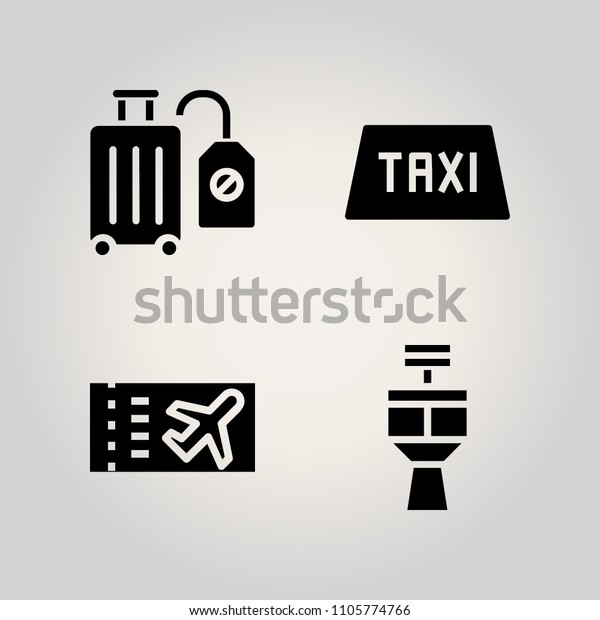 Airport Icon Set Passenger Tour Departure Stock Vector Royalty Free 1105774766