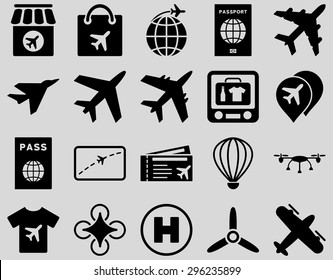 Airport Icon Set. These flat icons use black color. Vector images are isolated on a light gray background.