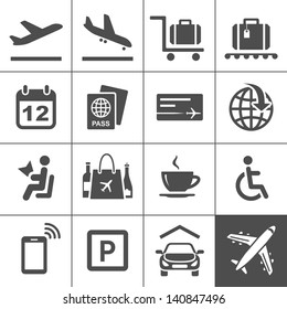Airport icon set. Universal airport and air travel icons. Simplus series. Vector illustration