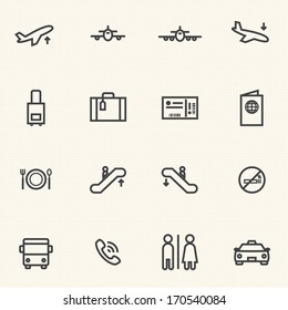 Airport icon sets. Line icons.