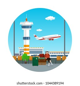 Airport Icon , View of a Flying Airplane and Control Tower through the Window from a Waiting Room with Woman and Luggage , Air Travel and Tourism Concept, Flat Design, Vector Illustration