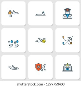 Airport icons colored line set with flatbed truck, pilot, cancellation insurance and other inn elements. Isolated vector illustration airport icons.
