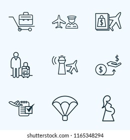 Airport icons line style set with man with travel bag, briefcase, parachute and other organizer elements. Isolated vector illustration airport icons.