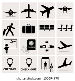 airport icons on white background