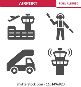 Airport Icons. Professional, pixel perfect icons, EPS 10 format.