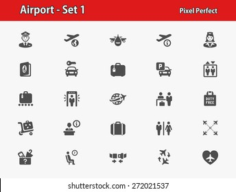Airport Icons. Professional, pixel perfect icons optimized for both large and small resolutions. EPS 8 format.