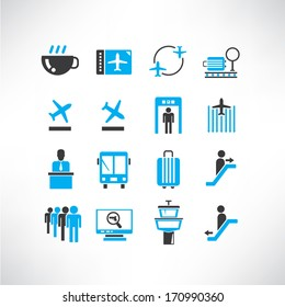 airport icons set, black and blue color theme icons