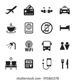 Airport icons set. Black on a white background