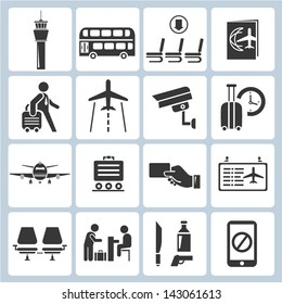 airport icons set, vector