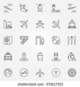 Airport icons set - vector thin line air travel symbols. Airport outline signs or logo elements