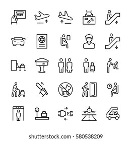 Airport icons in thin line style. Vector symbols.