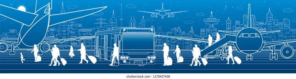 Airport illustration. Aviation transportation infrastructure. The plane is on the runway. Passengers board an airplane from the bus. Night city on background, vector design art