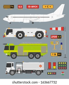 Airport info graphic set with airplane, tow truck, fire engine and fuel truck