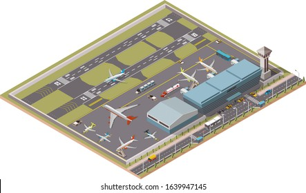 Airport Infographic vector isometric design elements. Map of the city's airport. Terminal, airport traffic, control tower, hangar, departure jet, airplanes, ground support vehicles and workers, runway