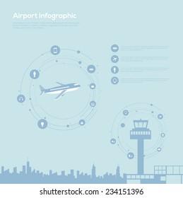 Airport infographics. Vector set