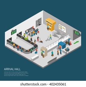 Airport inside poster of scene in arrival hall people getting baggage and pass control isometric vector illustration