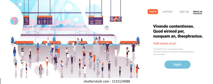 Airport interior passengers baggage walking waiting hall departure boards lounge terminal flat copy space banner vector illustration