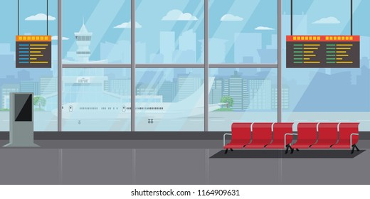 Airport Interior Waiting Hall Departure Lounge Modern Terminal Concept. High Detailed Flat color Vector Illustration