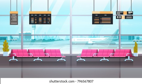 Airport Interior Waiting Hall Departure Lounge Modern Terminal Concept Flat Vector Illustration
