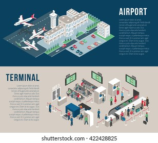 Airport isometric horizontal banners with parking hotel waiting hall front desk police detectors passengers isolated vector illustration