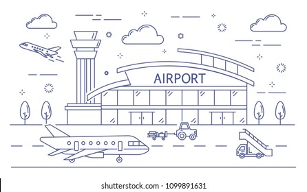 Airport line building illustration on white background.
