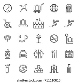 Airport line icons on white background, stock vector