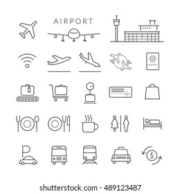 Airport Line Icons and Symbols Set, Plane, Transportation, Sign, Object,