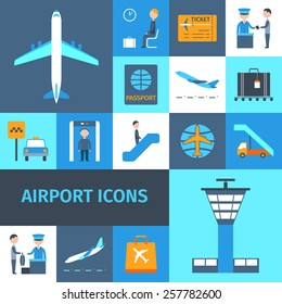Airport lounge public transportation business decorative icons set isolated vector illustration
