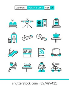 Airport, luggage scanning, flight, rent a car and more. Plain and line icons set, flat design, vector illustration