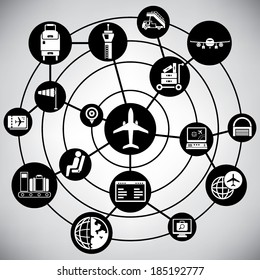 airport management network, info graphic