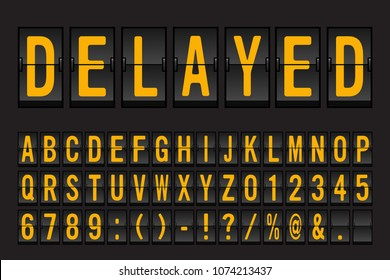 Airport Mechanical Flip Board Panel Font - Yellow Font on Dark Background Vector Illustration