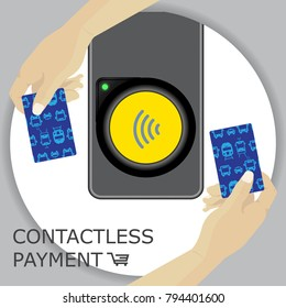 Airport, metro, subway ticket terminal for wireless payments. RFID. Hands holding card for transport payment gate. Contactless. Vector.