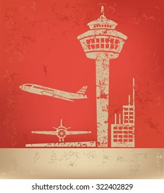 Airport on red background,poster grunge design