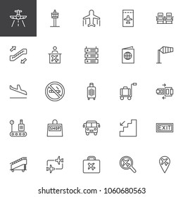 Airport outline icons set. linear style symbols collection, line signs pack. vector graphics. Set includes icons as Aircraft, Control tower, Plane, Ticket, Seats, Escalator, Information, Passport