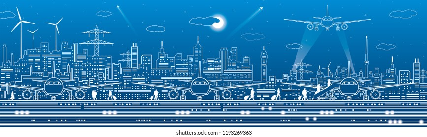 Airport panorama. Passengers go to the airplane. Aviation travel transportation infrastructure. The plane is on the runway. Night city on background, vector design art