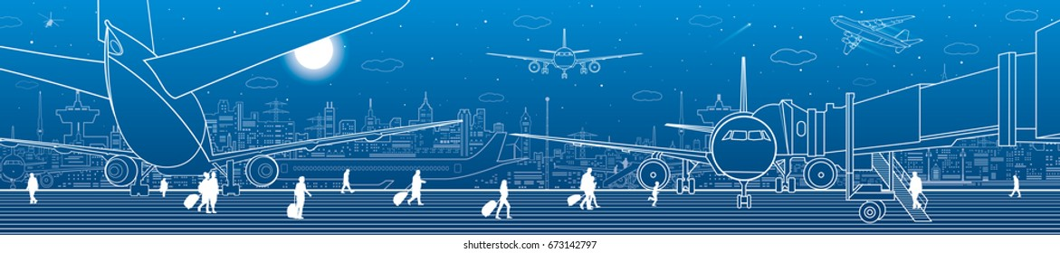 Airport panorama. The plane is on the runway. Aviation transportation infrastructure. Airplane fly, people get on the aircraft. Night city on background, vector design art