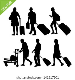 Airport passengers silhouettes vector