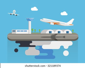 Airport with plane on flying island concept flat vector illustration