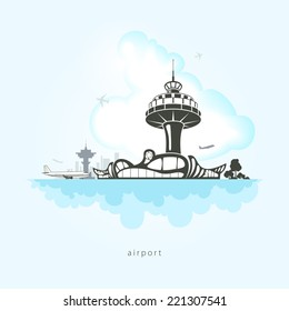 Airport with planes, clouds and the control tower at the airport, vector illustration