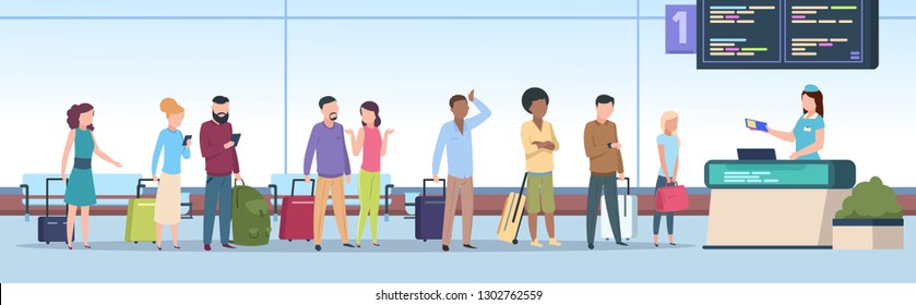 Airport queue. Airplane passengers check registration airport terminal. Traveling people, baggage waiting in line gate. Vector concept