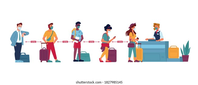 Airport queue, social distance people in masks standing at line to passport control, vector flat. Coronavirus Covid people social distance in airport counter check boarding or baggage lost claim desk
