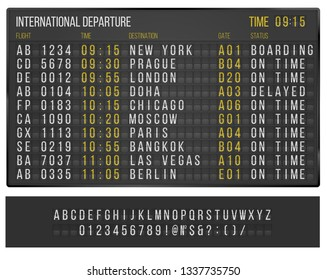 Airport or railroad  table with flip mechanical  symbols. Vector template